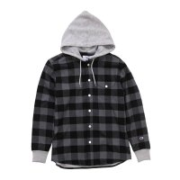 [SUPER SALE/30%OFF!!]Champion HOODED LONG SLEEVE SHIRT [Charcoal] - C3-J423