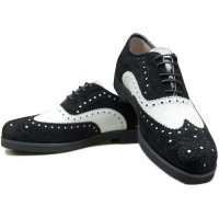 BALANCE STREET WEAR CLASSIC WING TIP MENS SHOES[BLACK/WHITE]