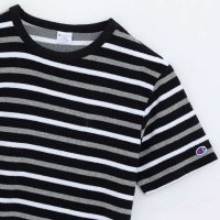 Champion BORDER PILE T-SHIRT[BLACK/GRAY] - C3-K335