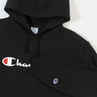 Champion LOGO PRINT PULLOVER HOODED SWEATSHIRT[BLACK] - C3-J117