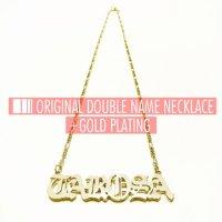ネームネックレスダブル/ゴールドメッキ [DOUBLE/GOLD PLATING] - ORIGINAL NAME NECKLACE