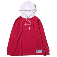 Champion LONG SLEEVE HOOD SHIRT[WHITE/RASBERRY] - C3-M414