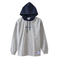 Champion LONG SLEEVE HOOD SHIRT[NAVY/GREY] - C3-M414