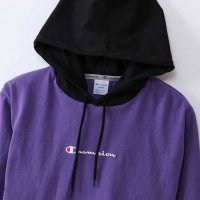 Champion LONG SLEEVE HOOD SHIRT[BLACK/PURPLE] - C3-M414