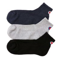 Champion QUARTER LENGTH SOCKS BACK LOGO 3P[BLACK/GREY/NAVY] - CMSCM201