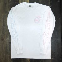 DC CLOTHING BURNING CIRCLE LOGO L/S T-SHIRTS[WHITE/P-BURN]