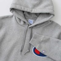 Champion BIG LOGO PULLOVER HOODED SWEATSHIRT[OXFORD GREY] - C3-E127