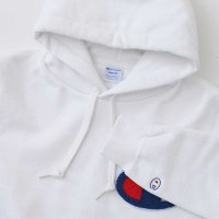 Champion BIG LOGO PULLOVER HOODED SWEATSHIRT[WHITE] - C3-E127