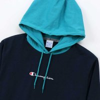 Champion LONG SLEEVE HOOD SHIRT[DK NAVY/AQUA] - C3-M414<img class='new_mark_img2' src='//img.shop-pro.jp/img/new/icons5.gif' style='border:none;display:inline;margin:0px;padding:0px;width:auto;' />