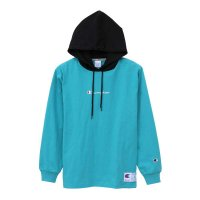 Champion LONG SLEEVE HOOD SHIRT[AQUA/BLACK] - C3-M414<img class='new_mark_img2' src='//img.shop-pro.jp/img/new/icons5.gif' style='border:none;display:inline;margin:0px;padding:0px;width:auto;' />