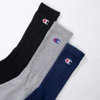 Champion LOGO SOX フルレングスソックス 3P[BLACK/GREY/NAVY] - CMSCH002
