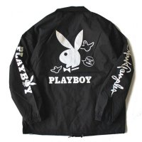 MARK GONZALES x PLAYBOY WASHED NYLON COACH JACKET[BLACK] - 2G5-5953