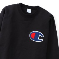Champion BIG LOGO CREW NECK SWEAT SHIRT[BLACK] - C3-Q035