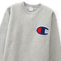 Champion BIG LOGO CREW NECK SWEAT SHIRT[OXFORD GRAY] - C3-Q035