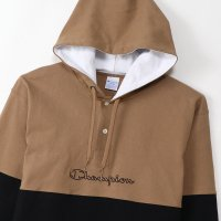 Champion LONG SLEEVE HOOD T-SHIRT[MOCHA/BLACK] - C3-R401