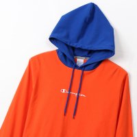 Champion LONG SLEEVE HOOD SHIRT[ORANGE/ROYAL] - C3-M414