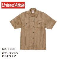 [ UNITED ATHLE ] 1781 T/C STRIPE SHORT SLEEVE WORK SHIRT - ユナイテッドアスレ ストライプ ワークシャツ (プリント/刺繍対応)