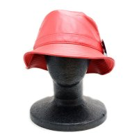 [ PIT BULL ] LEATHER BUCKET HAT (RED) - バケットハット