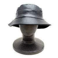 CITY HUNTER LEATHER BUCKET HAT (BLACK) - バケットハット
