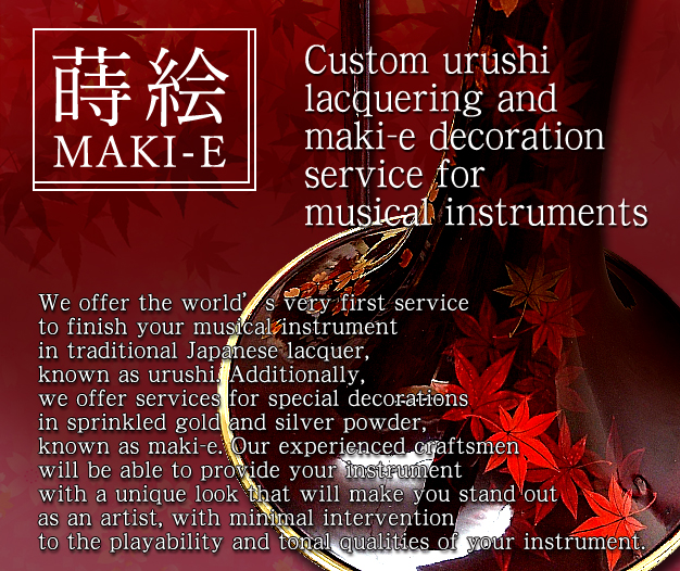 Custom urushi lacquering and maki-e decoration service for musical instruments