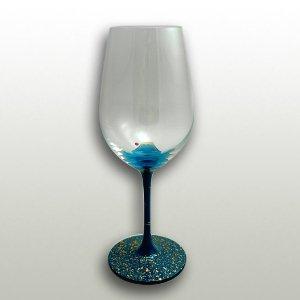 漆絵ワイングラス 富士