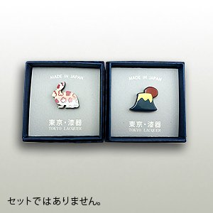うるしピンズ 「螺鈿 うさぎ」「富士山」