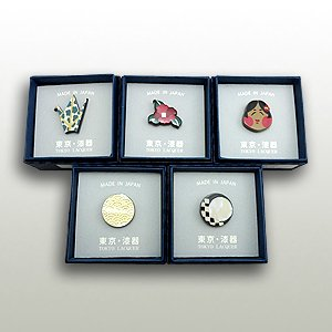うるしピンズ 「螺鈿 青海波」「螺鈿 三ヶ月市松」「螺鈿 折鶴」「椿」「おかめ」