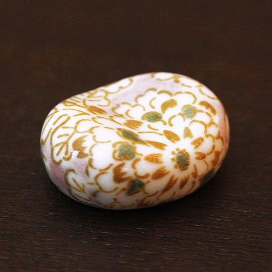 小豆 色呉須柄 菊紫