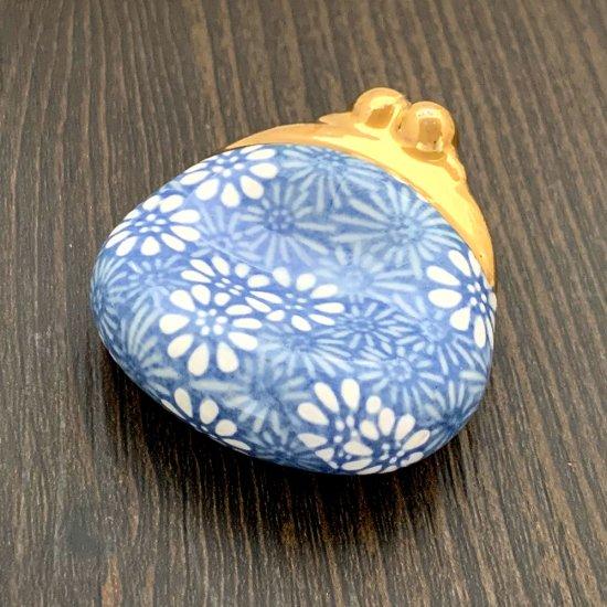 手造り がま口財布の箸置き 菊(ブルー)
