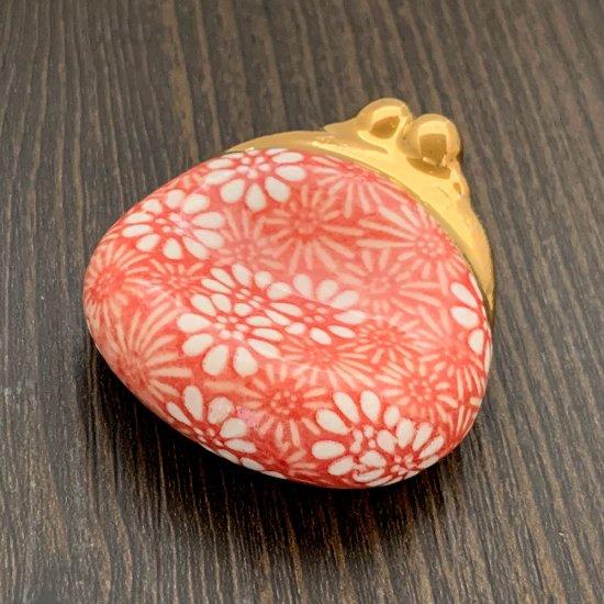 手造り がま口財布の箸置き 菊(赤)