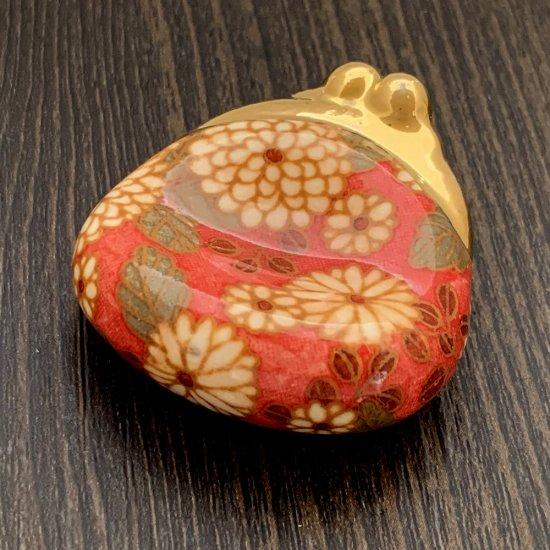 手造り がま口財布の箸置き 大柄菊(ピンク)