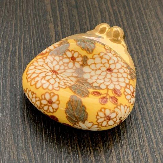 手造り がま口財布の箸置き 大柄菊(イエロー)