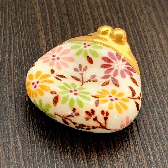 手造り がま口財布の箸置き 花柄(カラフル)