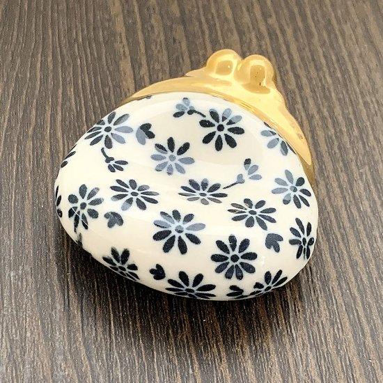 手造り がま口財布の箸置き 藍色花柄