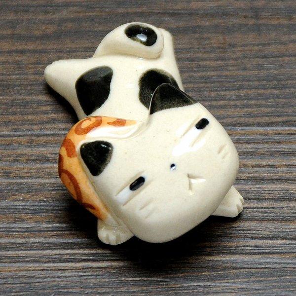 手造り どろぼう猫の箸置き 白黒猫×唐草