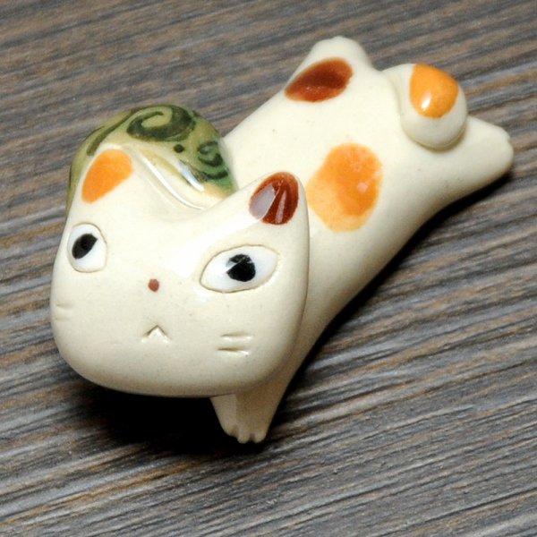 手造り どろぼう猫の箸置き ミケ猫×唐草