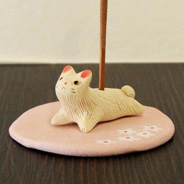 手造り 白猫の香立て 香皿付