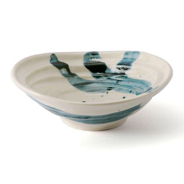 雲陶園 藍刷毛目 22cmひずみ鉢
