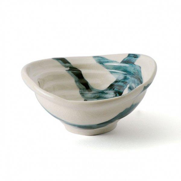 雲陶園 藍刷毛目 16cmひずみ鉢