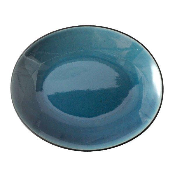 雲陶園 23cmオーバルプレート ターコイズブルー