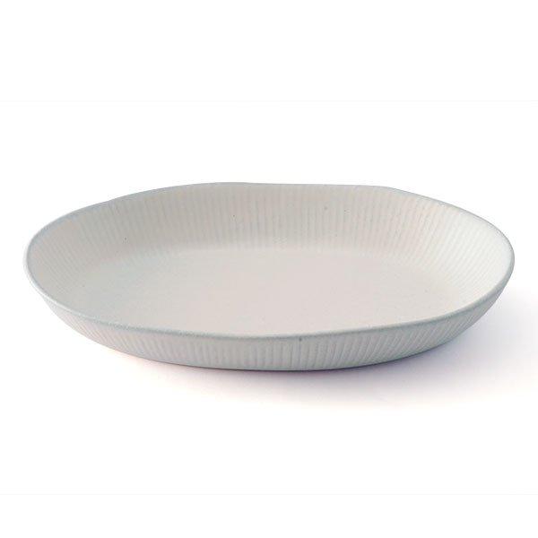 雲陶園 25.5cmシェイブ深型オーバルプレート ブルーホワイト