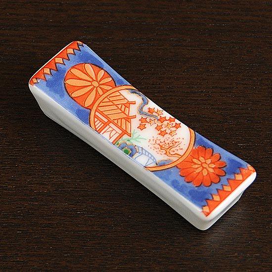 長角箸置き 丸紋菊