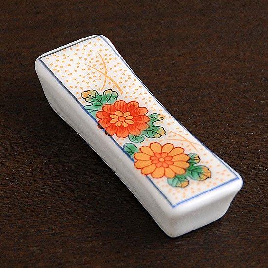長角箸置き 二色菊