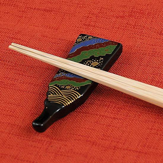 天目羽子板の箸置き 三色波