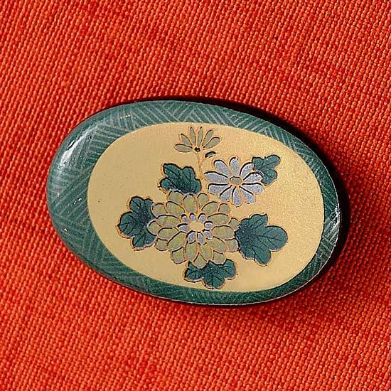 天目オーバルの箸置き グリーン菊