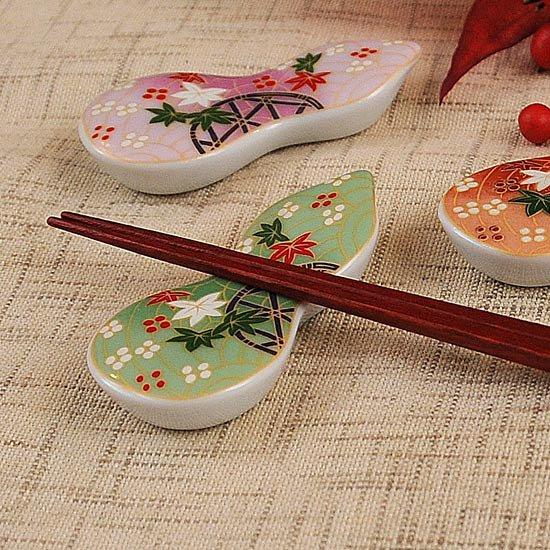 瓢型箸置き友禅紅葉(緑)