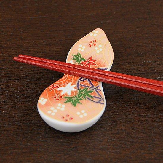 瓢型箸置き友禅紅葉(橙)