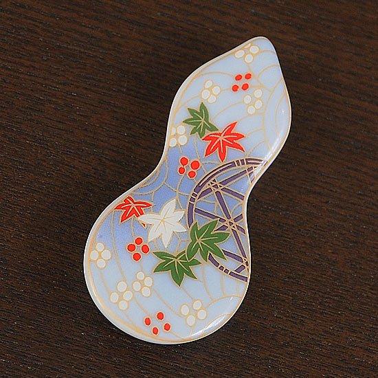 瓢型箸置き友禅紅葉(青)