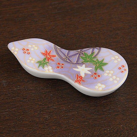 瓢型箸置き友禅紅葉(紫)