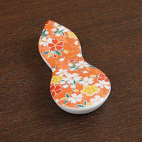 瓢型箸置き京友禅(橙)